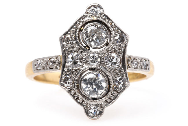 edwardian era engagement ring platinum navette old european cut diamonds engagement ring burnt oak