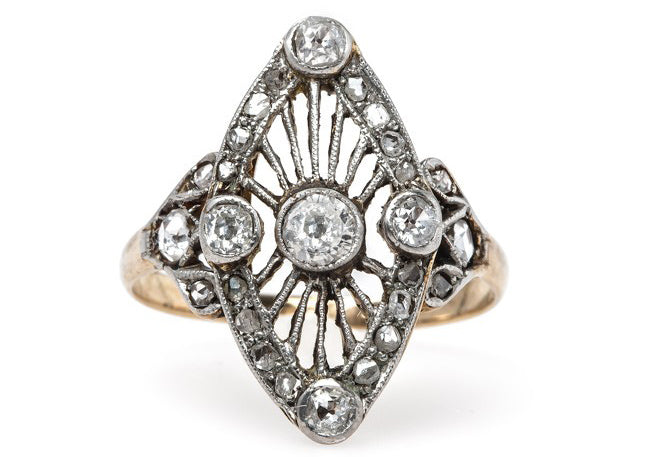 Vintage Edwardian Era Navette Engagement Ring Lyman