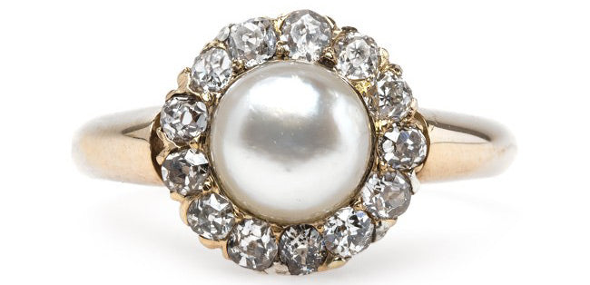 Victorian Era Yellow Gold Ring with Pearl Center and Old Mine Cut Diamond Halo | Darley
