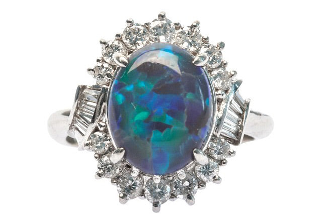 Modern Platinum Opal Ring with Blue and Green Play of Color | Blackridge