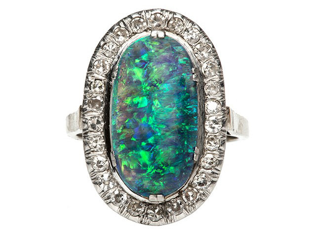 Art Deco Opal and Diamond Cocktail Ring | Canoe Hill