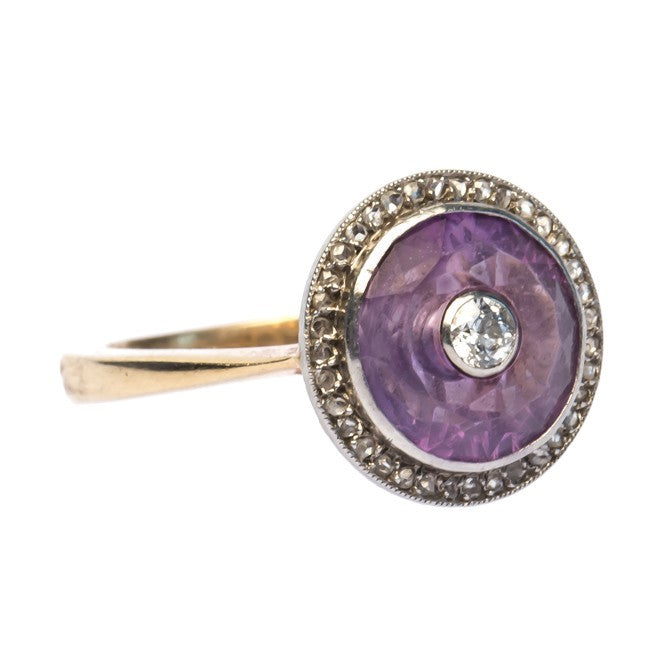 edwardian vintage amethyst diamond ring angle
