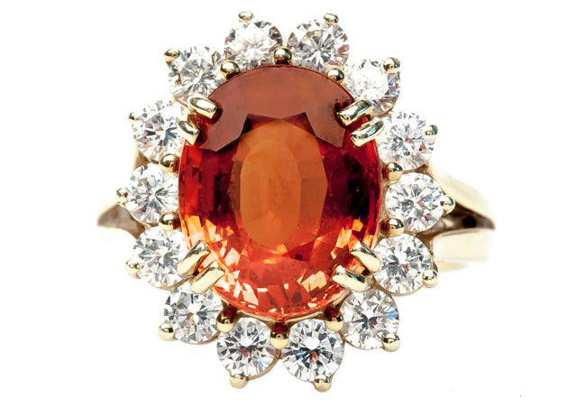 Orange Garnet 18K Yellow Gold and Diamond Cocktail Ring | Squaw Valley