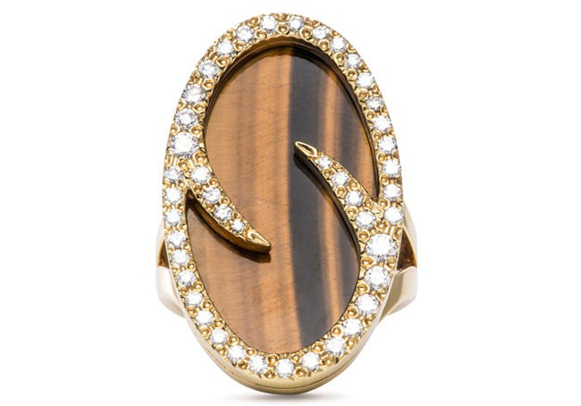 Vintage Jewelry | Estate Jewelry | Oval Tiger Eye and Diamond Ring