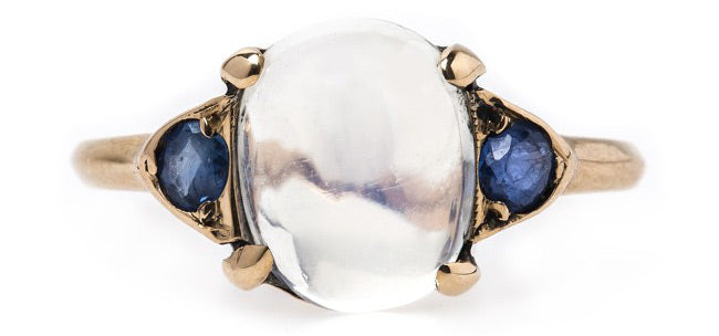 Dreamy Authentic Victorian Era Moonstone Ring with Natural Sapphires | Rancho Mirage