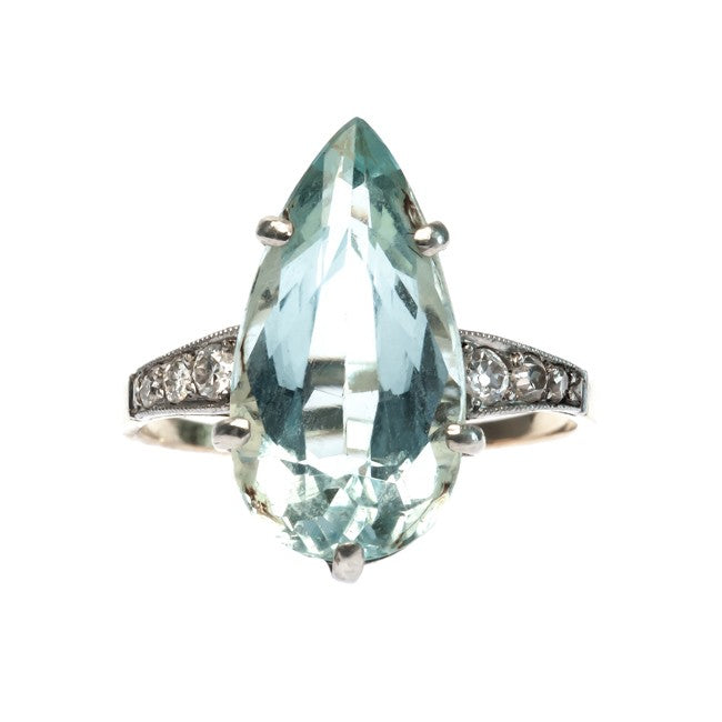 vintage aquamarine engagement ring