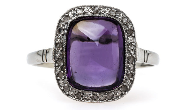 vintage art deco engagement ring sugarloaf cabochon amethyst rose cut diamonds catskill