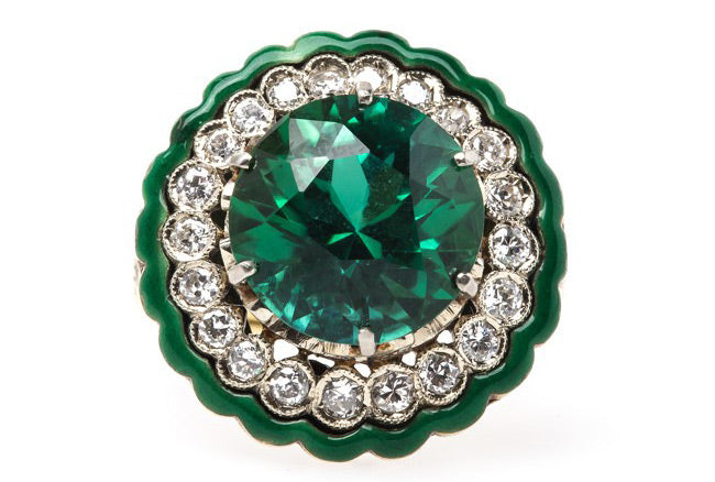 Extraordinary Vintage Retro Era Cocktail Ring with Tourmaline Center | Clifton
