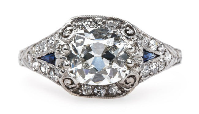 Impeccable Edwardian Era Diamond Engagement Ring with Sapphire Accents | Waterfront