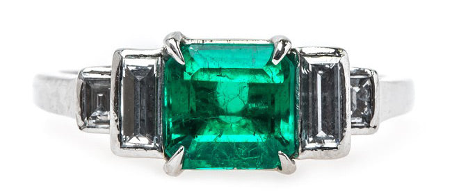 Majestic Mid-Century Columbian Emerald Engagement Ring | McKinney