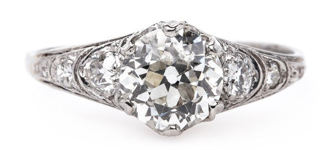Radiant Early Art Deco Platinum Engagement Ring | Lockhaven
