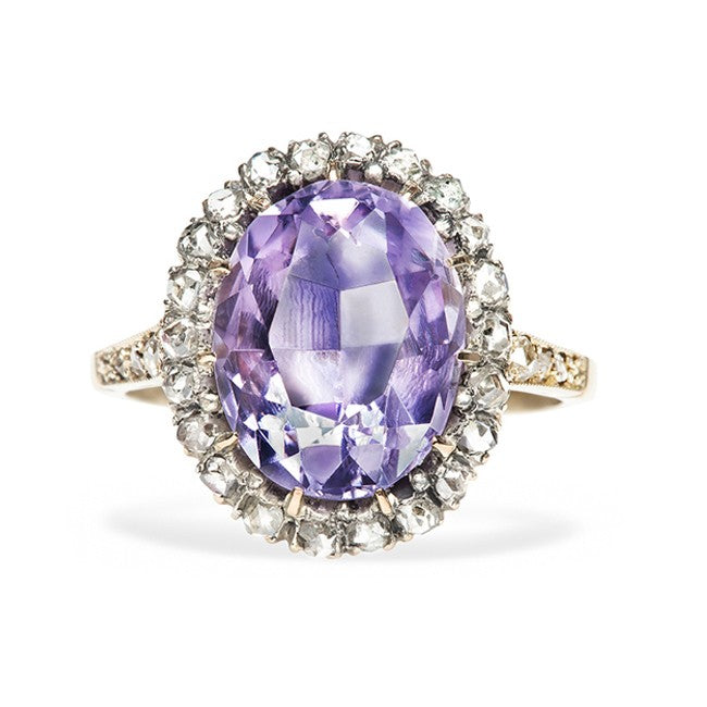 vintage inexpensive amethyst diamond halo cocktail ring lee valley