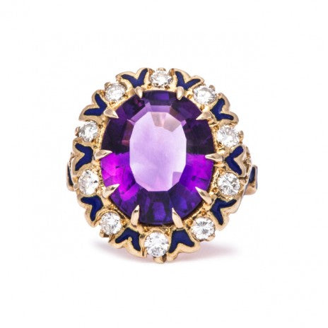 victorian amethyst enamel diamond ring