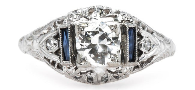 Spectacular Edwardian Era Platinum Engagement Ring with Sapphire Shoulders | Cosgrove