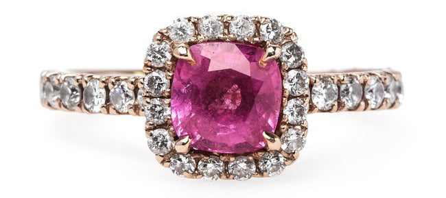 Contemporary Bubblegum Pink Sapphire and Diamond Halo Engagement Ring | Eureka Springs