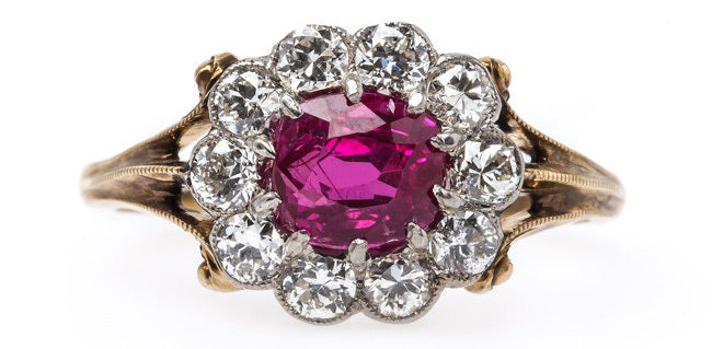 Spectacular Authentic Edwardian Era Engagement Ring with Natural Ruby Center | Lanseboro