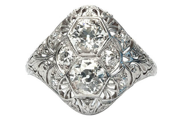 Edwardian Navette Platinum and Diamond Engagement Ring | Spyglass