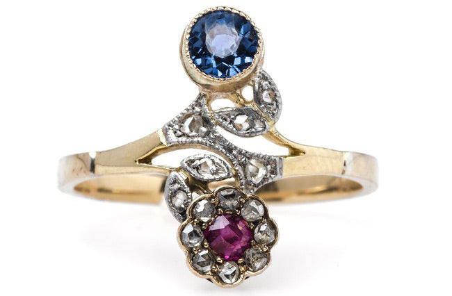 Whimsical Early Victorian Ruby and Sapphire Flower Ring | Barrington