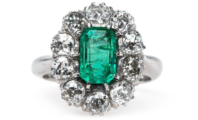 Columbian Emerald Engagement Ring with Sparkling Old Mine Cut Diamond Halo | Joshua Tree