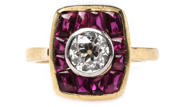 Historic English Engagement Ring with Diamond and Rubies | Heathrow