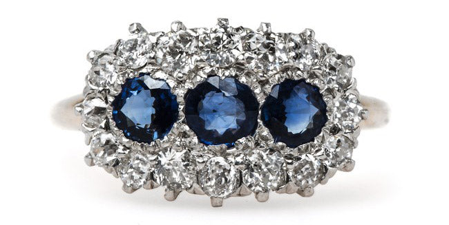 Timeless and Unique Victorian Era Sapphire Ring with Glittering Halo | Barbados