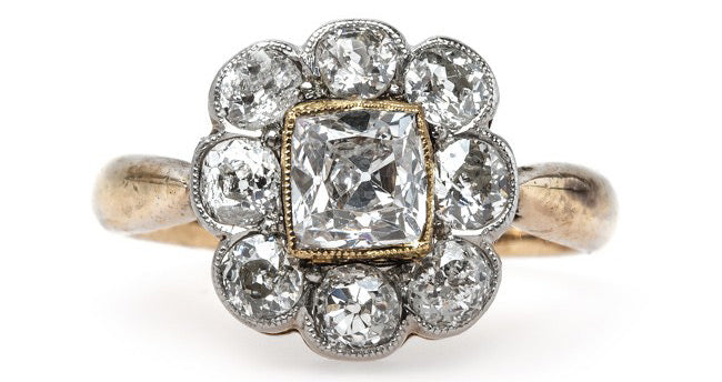Unique Victorian Era Halo Engagement Ring with Cushion Square Diamond Center | Granada