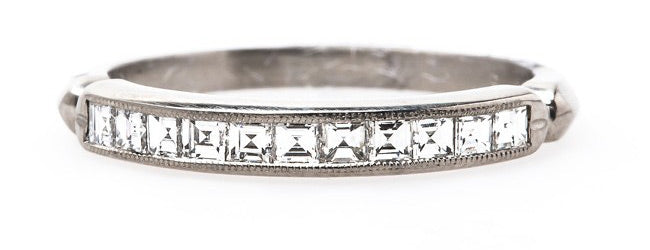 Cheshire Vintage Inspired Art Deco Platinum Wedding Band with Square Cut Diamonds | Trumpet & Horn
