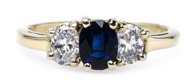 Timeless Three-Stone Engagement Ring with Sapphire Center | Shell Harbor