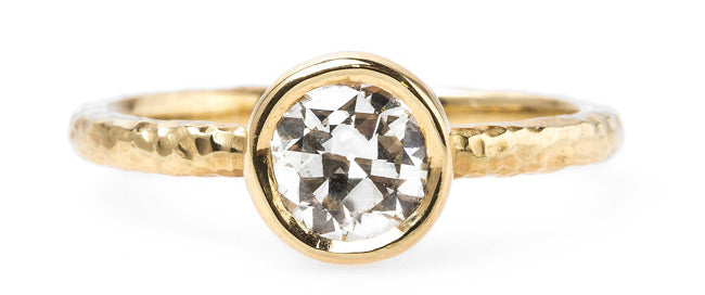 T&H Original Solitaire Engagement Ring with Hammered Gold Band