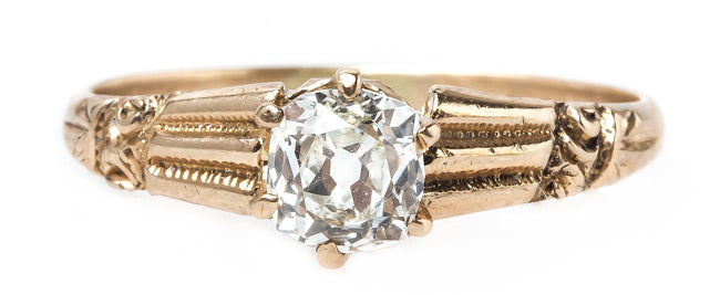 Victorian Era Solitaire Engagement Ring with Old Mine Brilliant Cut Diamond   Yale