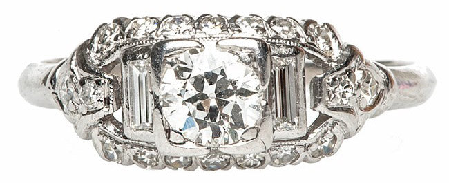 Vintage Art Deco Platinum Engagement Ring | Wicker Park