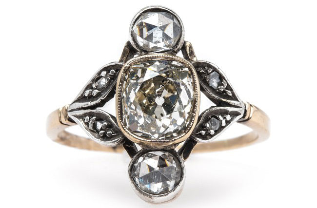 Vintage Art Nouveau Engagement Ring with Extremely Unique Design | Herringbone