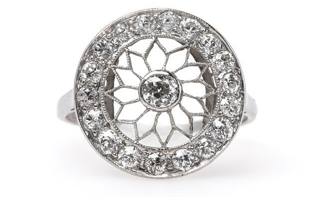 Extraordinary Edwardian Era Engagement Ring with Hand Pierced Filigree | Brooklyn