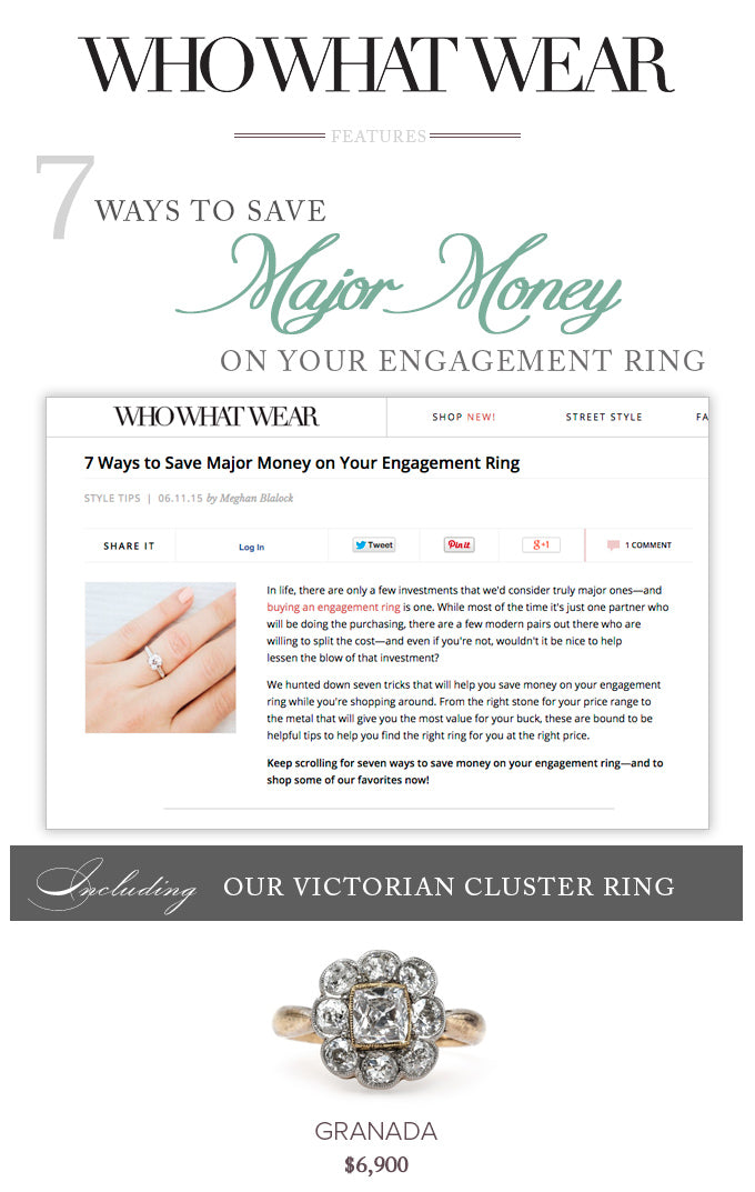 Who What Wear Features Trumpet Horn Vintage Engagement Rings and Antique Engagement Rings
