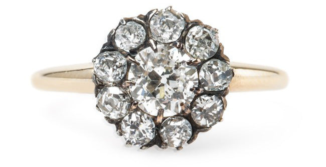 Elegant Victorian Era Cluster Ring with Old European Cut Diamond Center | Clarebourne
