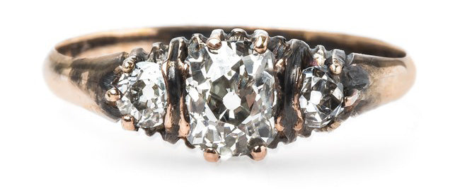 Wonderful Oxidized Victorian Era Engagement Ring with Three Stone Diamond Combination | Elysian Park
