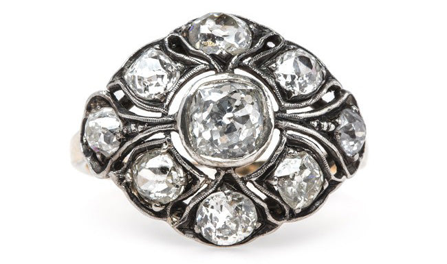 Impeccable Bombe Style Victorian Cluster Ring | Broken Arrow