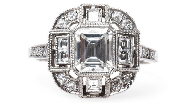 Incredible Newly Made Platinum Engagement ring with Emerald Cut Diamond | Hampstead Heath