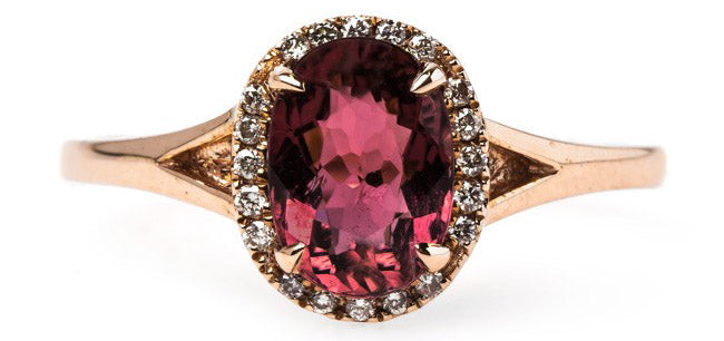 Modern Era Rose Gold Engagement Ring with Tourmaline and Diamond Halo | Summerhill