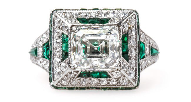 Vintage Art Deco Diamond and Emerald Ring | Fairmount Park
