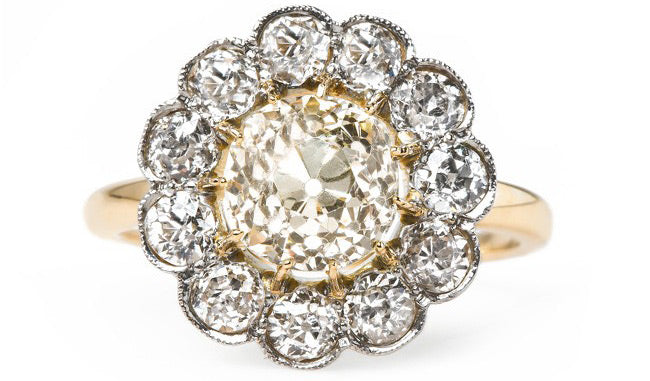 Victorian Era Cluster Engagement Ring | Beverly Hills | Trumpet & Horn
