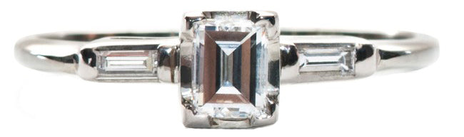 Vintage Engagement Ring with Emerald Cut Diamond Affordable | Benson