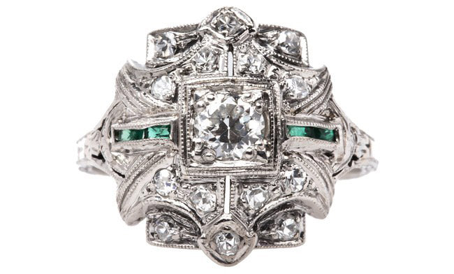 Vintage Art Deco Engagement Ring with Old European Cut Diamond and Emerald Accents | Glenwood
