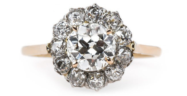 Vintage Victorian Cluster Ring with Old Mine Cut Diamonds | Lake Como