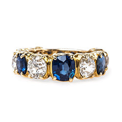 victorian diamond and sapphire ring