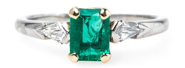 rectangular cut emerald ring