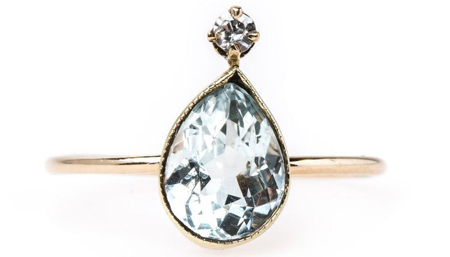 Vintage Pear Aquamarine with Diamond Stick Pin | Point Clear