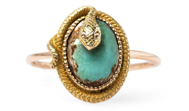 Vintage Turquoise Victorian Stick Pin Ring | Langston