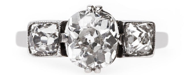 Vintage Three Stone Engagement Ring   Cobble Hill