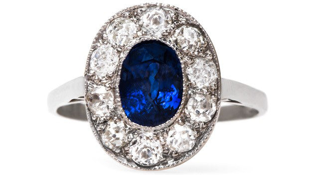 Stunning Sapphire and Diamond Vintage Engagement Ring | Milan from Trumpet & Horn
